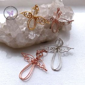 Clear Quartz Copper Angel Pendant
